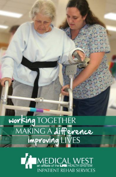 A patient receiving inpatient physical rehabilitation therapy services at Medical West Hospital.